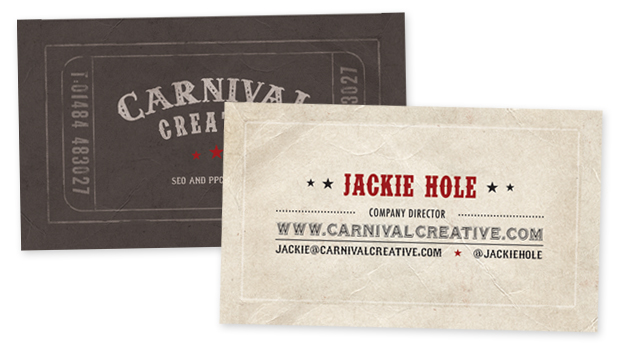 Carnival creative visual brand development design by if the business cards are reminiscent of old fashioned show tickets suggesting youre in for something extra special the cards are slightly narrower than the reheart Choice Image